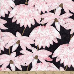 Hanami Falls Lotus Blossoms Cotton Fabric - Black by Beverlys.com