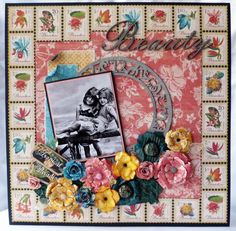 Stunning LO by @Gloria Stengel on our Paper Crafter's Library Blog Hop this week! Using Tropical Travelogue and she made all those flowers from flower die-cuts! None were pre-made! #graphic45 #layouts