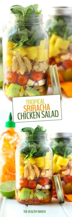 Change up your usual salad game with this spicy and sweet Tropical Sriracha Chicken Salad. It's packed full of veggies and flavor with an added boost of protein from the Sriracha-Pineapple Marinated chicken breast.