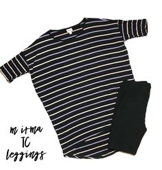 Medium striped Irma and Black / Noir TC leggings   visit asbellroe.com to find this beautiful outfit among many others! Perfect for any season and weather.
