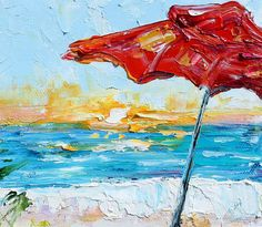 Original oil painting Some Beach Somewhere by Karensfineart