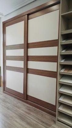 Armario empotrado con puertas correderas perfiles de madera maciza y paneles lacado combinado - Armarios empotrados con puertas correderas ...