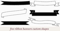 Free ribbon banners custom shapes for photoshop.