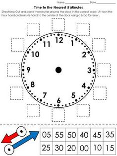 Time: Clock Cut and Paste Activity – Telling Time to the Nearest 5 Minutes - Grundschule Telling Time Activities, Teaching Time, Teaching Math, Math Activities, Teaching Clock, Math Classroom, Kindergarten Math, Math Measurement, Second Grade Math