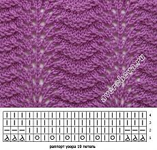 узор 388 волны 3 | каталог вязаных спицами узоров