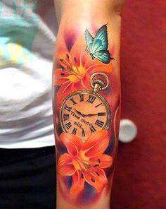 Blume Schmetterlingsuhr Arm Tattoo bunt Source by Arm Tattoo, Tattoo Bunt, Tattoo Henna, Arm Sleeve Tattoos, Flower Tattoo Arm, Cover Tattoo, Leg Tattoos, Body Art Tattoos, Tatoos