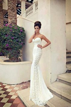 Lace tight fit wedding gown