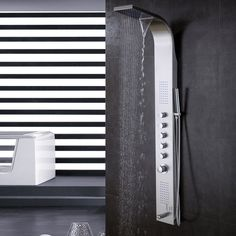 Thermostatic Multi-Function Shower Tower Panel Massage System with Handheld Tub Spout Includes Rough-In Valve Shower Tower Panel, Shower Panels, Shower Hose, Rain Shower, Stainless Steel Panels, Shower Plumbing, Waterfall Shower, Fixed Shower Head, Shine Your Light