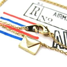 Miniature Envelope Letter Charm Necklace in Gold | DOTOLYhttps://goo.gl/vtuy8S