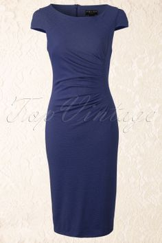 Fever - Mila Side Ruched Pencil Dress in Midnight Blue