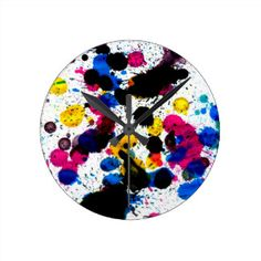 Colorful Paint Drips 7 Round Clock