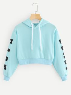 SheIn offers Letters Print Crop Hoodie & more to fit your fashionable needs. Cute Lazy Outfits, Crop Top Outfits, Preppy Outfits, Teenage Outfits, Teen Fashion Outfits, Outfits For Teens, Stylish Outfits, Cool Outfits, Fashion Fall