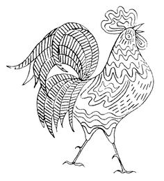 embroidery pattern transfer - rooster