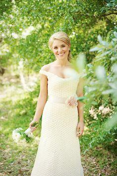 Crocheted wedding dress. Love it!