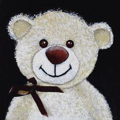 Glasbild Anowi Kindermotive Spielzeuge Teddy Malerei Creme