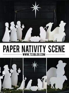 Christmas DIY: Illustration Description DIY Paper Nativity Scene made with Cricut Explore -- Round 5 Nativity Crafts, Christmas Nativity, Noel Christmas, Modern Christmas, Christmas Projects, All Things Christmas, Holiday Crafts, Christmas Ornaments, Origami Nativity