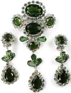 Christian Dior by Henkel and Grosse Green Tourmaline and Aurora Borealis Pendant Pin and Pendant Clip Earrings Set