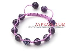 Dark Purple Series 10mm Round Amethyst and Rhinestone Beads Adjustable Drawstring Bracelet from aypearl.com