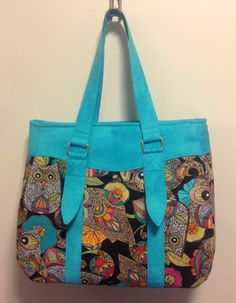 Neon Owls Evelyn purse with Aqua straps and by PenguinPouches