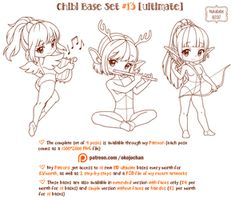 Chibi Pose Reference (Ultimate Chibi Base Set by Nukababe on DeviantArt Chibi, Anime Drawing Books, Sketches, Character Design, Art Poses, Drawing Base, Drawing Templates, Pose Reference, Best Friend Poses