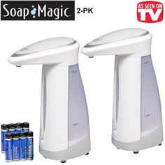 SOAP MAGIC SET OF 2 HANDS-FREE SOAP DISPENSERS -- FREE SHIPPING!!!