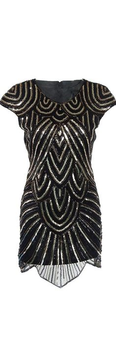 Black Short Sleeves Sequined Dress