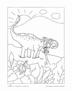 Kindergarten Dinosaurs Worksheets: Jurassic Pirate Coloring Page
