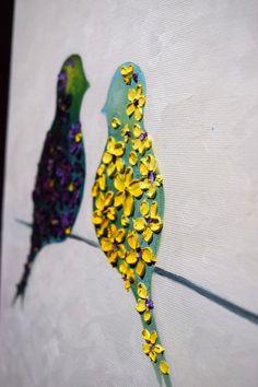Moderne und abstrakte zeitgenössische liebende Vögel auf einem Ast, Original und handgefertigt, weißer Hintergrund helle Farbe Blumen Galerie Qualität Kunst von Denisa Laura - bereit zum hängen Impasto Dicke Textur Spachtel Öl Leinwand Malerei Es ist einfach und modern, ein Spritzen der Farbe an die Wand zu bringen. -Bitte berücksichtigen Sie, dass Ihr PC-Monitor, Handy oder Tablet-Bildschirm Farben/Farbtöne etwas kühler oder wärmer anzeigen kann. Kunstwerk-Beschreibung: abstrakte für...