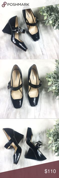 Via Spiga Black Patent Heels Gorgeous buckle heels with stunning triangular shaped heel feature. EUC. Black patent leather. Size 10. Via Spiga Shoes Heels