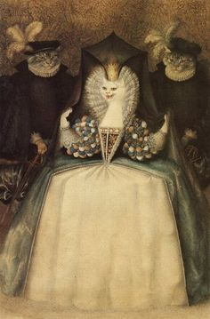 "Gennady Spirin,  Illustration from ""The White Cat"", tale by Madame d'Aulnoy (1650/1-1705)"