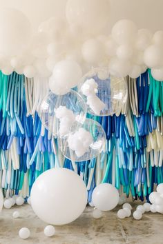 How sweet is our balloon tassel wall? This was the perfect backdrop for a perfect young mans first birthday. Coming soon- the ombré step and repeat version! Balloon Arch Diy, Balloon Tassel, Balloon Display, Balloon Backdrop, Balloon Wall, Balloon Garland, Balloon Decorations, Party Kulissen, Baby Party