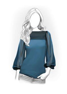 Blusa  - Patrón de costura #5937 Patrón de costura a medida de Lekala con descarga online gratuita.