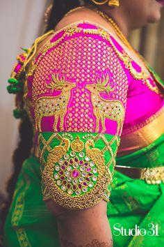 2017 grand wedding blouses for bride marriage pelli ki blouse aari work blouse designs for shadi heavy designer blouses for reception engagement half sarees Best Blouse Designs, Silk Saree Blouse Designs, Bridal Blouse Designs, Blouse Patterns, Silk Sarees, Aari Work Blouse, Maggam Work Designs, Bollywood, Indie
