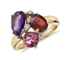 ZAC Zac Posen Amethyst, Garnet  and Pink Tourmaline Cluster Ring in 14k Yellow Gold (10x7mm)