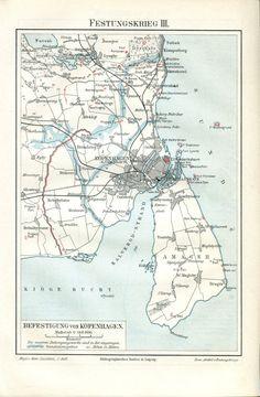 Copenhagen City, Copenhagen Denmark, Artifact Uprising, Map Shop, Italy Map, Fortification, Map Design, Historical Maps, 19th Century