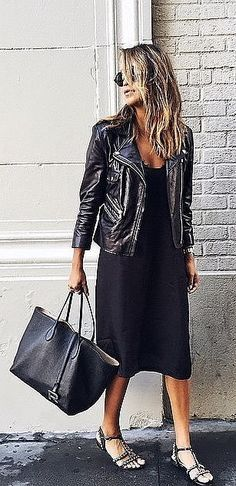 LBD, black leather jacket, black bag, black embellished flat sandals ☑️