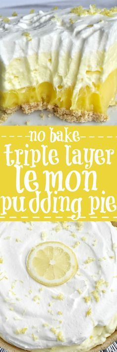 This easy & simple no bake triple layer lemon pudding pie is the perfect summertime dessert! You only need 5 ingredients for a sweet and creamy lemon pudding pie that is no bake and so simple to make. Desserts {no bake} Triple Layer Lemon Pudding Pie 13 Desserts, Easy Lemon Desserts, Baking Desserts, No Bake Summer Desserts, Lemon Lush Dessert, Holiday Desserts, Layered Pudding Desserts, Sugar Free No Bake Desserts, Desserts With Cool Whip