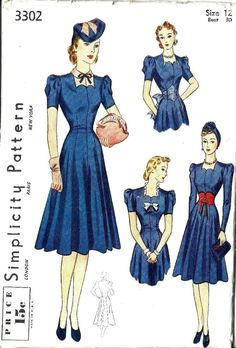 "Vintage 1930's Sewing Pattern FABULOUS Dress & Accessory Set Bust 30"" #Simplicity"