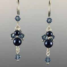Adorned with Swarovski crystals and/or Swarovski crystal pearls Hand formed .925 sterling silver ear wires with rubber earring backers All metal components are