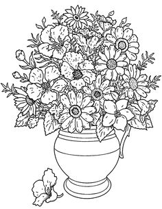 Free coloring page coloring-adult-flowers-bouquet. A beautiful bouquet of flowers picked from the garden, to color or paint