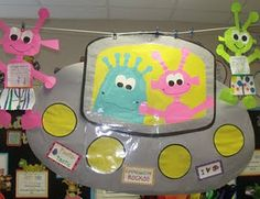"""Lesson plan ideas to go with the book Aliens Love Underpants.  Cool decorations and a great way to spread the book fair """"beyond"""" the library!"""