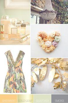 gold leaf as a craft???? Color Palette: Sherbert, Gold Leaf, Seafoam and Smoke