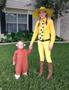 Curious George and the man (woman) in the yellow hat Halloween costume