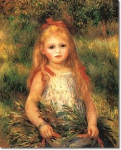 Pierre Renoir - French Impressionist Painting by Pierre Renoir - Girl with Flowers - 1888 Painting