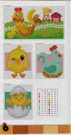 Chickens perler bead pattern
