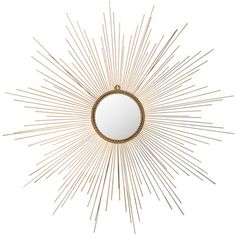 Add a pop of style to your foyer or dining room with this eye-catching wall mirror, showcasing a chic iron sunburst frame.   Product: