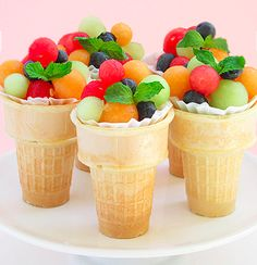 Cute idea for fruit for a Summer wedding, birthday party, pool party, etc. and not to mention very healthy!