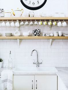 Diane Bergeron / Spanish Architectural Digest {white rustic modern kitchen} by recent settlers, via Flickr