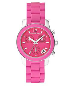 Mama wants!!!!! Michael Kors Watch, Women's Chronograph Stainless Steel Pink Silicone Bracelet 34mm MK5443 - All Michael Kors Watches - Jewelry & Watches - Macy's