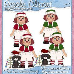 Raggedy Christmas Boy Dolls 1 Clipart Digital by MaddieZee on Etsy, $1.50